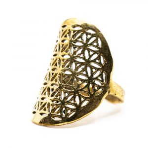 Adjustable Ring Flower of Life Gold-tone Brass (30 mm)