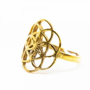 Adjustable Ring Flower of Life Gold-tone Brass