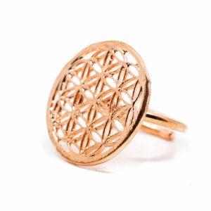 Adjustable ring Flower of Life Copper