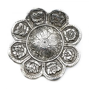 Silver-coloured Incense Burner - Eight Symbols of Prosperity (12 cm)