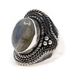 """Gemstone Ring Labradorite 925 Silver """"Omara"""" (Size 17)"""