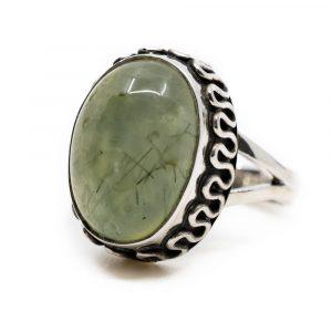 "Gemstone Ring Prehnite 925 Silver ""Yenra"" (Size 17)"