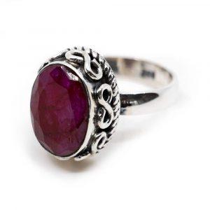 """Gemstone Ring Ruby Quartz 925 Silver """"Amaya"""" (Size 17)"""