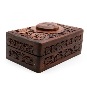 Storage Box Wood Yin & Yang Hand-carved (15 cm)