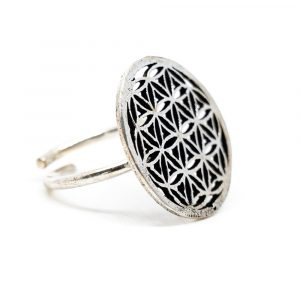 Adjustable Ring Flower of Life Silver-tone