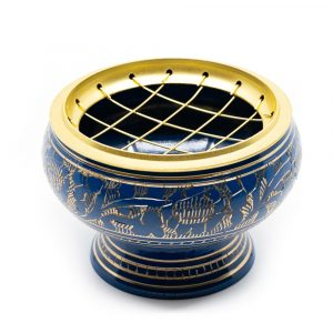 Incense Burner Brass for Charcoal - Blue