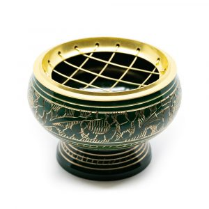Incense Burner Brass for Charcoal - Green