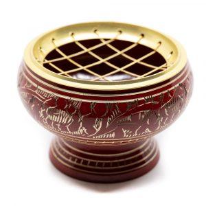 Incense Burner Brass for Charcoal - Red