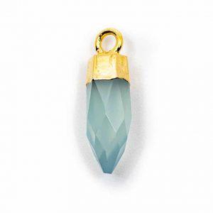 Gemstone Pendant Point Aqua Chalcedony (12 mm)