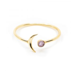 Birthstone Moon Ring Amethyst February - 925 Silver - Adjustable