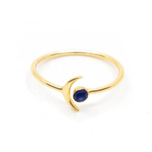 Birthstone Moon Ring Sapphire September - 925 Silver - Adjustable