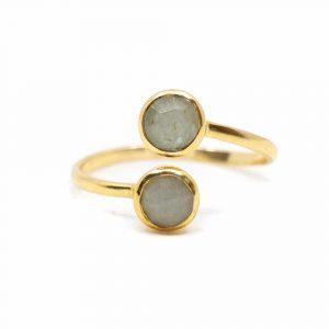 Birthstone Ring Aquamarine March - 925 Silver - Adjustable