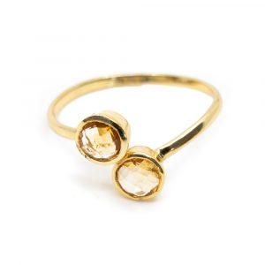 Birthstone Ring Citrine November - 925 Silver - Adjustable