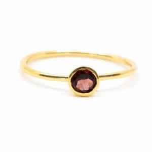 Birthstone Ring Garnet January - 925 Silver (Size 17)