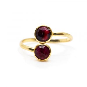 Birthstone Ring Ruby July - 925 Silver - Adjustable
