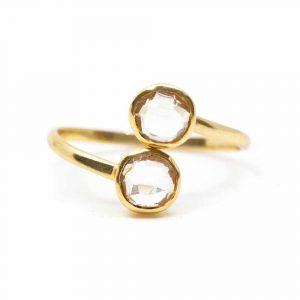 Birthstone Ring Rock Crystal April - 925 Silver - Adjustable
