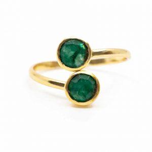 Birthstone Ring Emerald May - 925 Silver - Adjustable