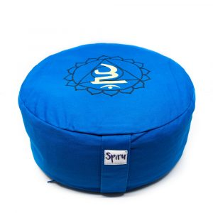 Spiru Meditation Cushion Cotton Blue - 5th Chakra Vishuddha - 36 x 15 cm