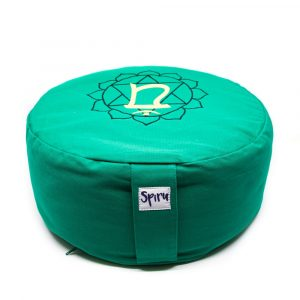 Spiru Meditation Cushion Cotton Green - 4th Chakra Anahata - 36 x 15 cm