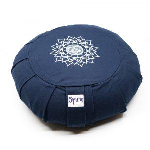 Spiru Meditation Cushion Zafu Pleated Cotton Indigo - OHM - 36 x 14 cm