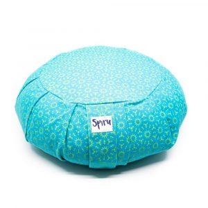 Spiru Meditation Cushion Zafu Pleated Cotton Turquoise - Sun print - 36 x 14 cm