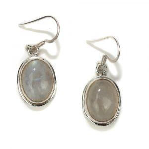 "Gemstone Earrings Rainbow Moonstone 925 Silver ""Naka"""