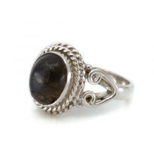 """Gemstone Ring Labradorite 925 Silver """"Dashah"""" (Size 17)"""