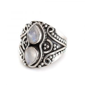 "Gemstone Ring Moonstone 925 Silver ""Yoza"" (Size 17)"