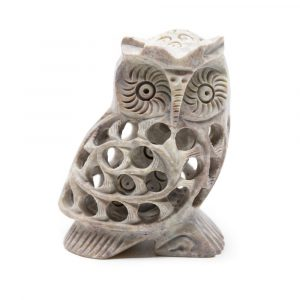 Owl Statue Stone with Baby (50 mm)