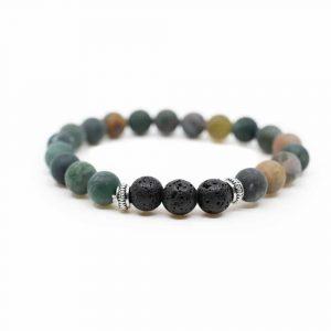 Gemstone Bracelet Agate With Lava Stone