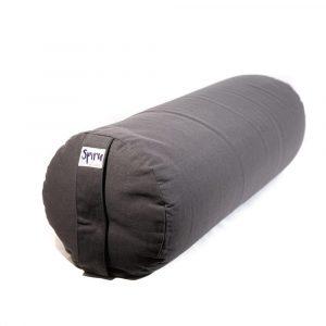 Yoga Bolster Anthracite Round Cotton - Plain - 59 x 21,5 cm