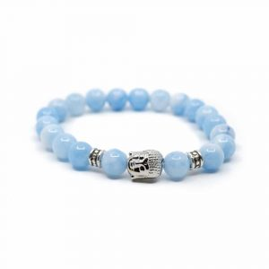 Gemstone Bracelet Blue Agate with Buddha