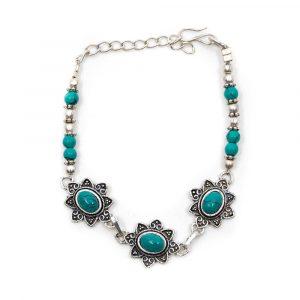 Gemstone Bracelet Bohemian Turquoise Silver (18 cm)