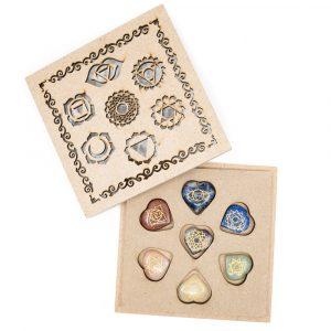 Chakra Gemstones Hearts Set in Box