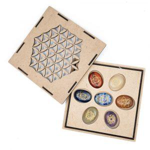 Chakra Gemstones Worry Stones Set in Flower of Life Storage Box