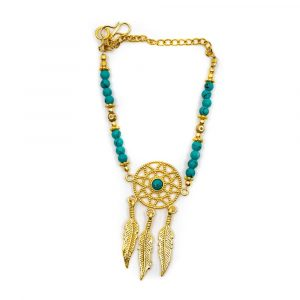 Gemstone Bracelet Turquoise Dreamcatcher (20 cm)