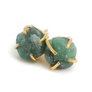 Gemstone Ear Studs Raw Emerald - 925 Silver - Gold Plated