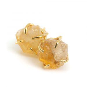 Gemstone Ear Studs Raw Citrine - 925 Silver - Gold Plated