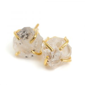 Gemstone Ear Studs Raw Herkimer Diamond - 925 Silver and Gold Plated