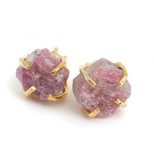 Gemstone Ear Studs Raw Pink Tourmaline - 925 Silver- Gold Plated