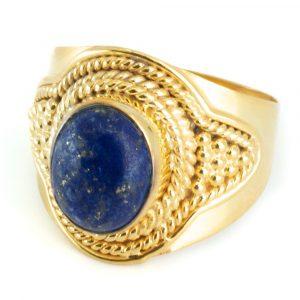 "Gemstone Ring Lapis Lazuli 925 Silver - Gold Plated ""Feze"" (Size 17)"