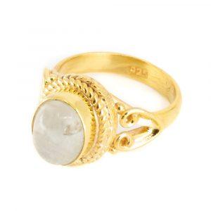 "Gemstone Ring Moonstone 925 Silver - Gold Plated ""Vesora"" (Size 17)"
