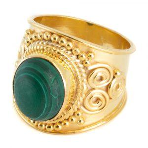 "Gemstone Ring Malachite 925 Silver - Gold Plated ""Mesa"" (Size 17)"