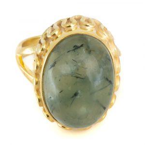 "Gemstone Ring Prehnite 925 Silver - Gold Plated ""Yenra"" (Size 17)"