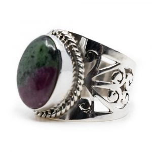 """Gemstone Ring Ruby in Zoisite 925 Silver """"Elnoa"""" (Size 17)"""