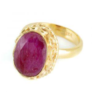 "Gemstone Ring Ruby Quartz 925 Silver -Gold Plated ""Amaya"" (Size 17)"