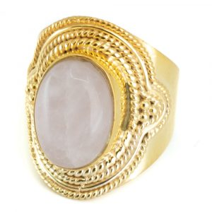 "Gemstone Ring Rose Quartz 925 Silver- Gold Plated ""Elare"" (Size 17)"