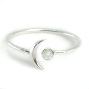 Birthstone Moon Ring Aquamarine March - 925 Silver