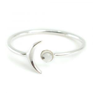 Birthstone Moon Ring Rock Crystal April - 925 Silver