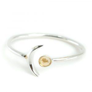 Birthstone Moon Ring Citrine November - 925 Silver
